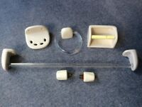 Ivory / Cream Bathroom Accessories including towel rail, towel ring, toothbrush holder, tap heads