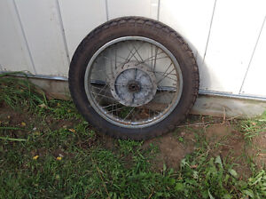 Vintage Motorcycle rim an tire