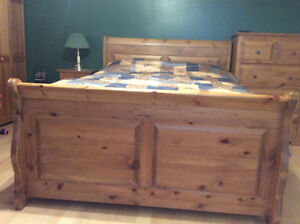 Hardwood bed frame with head board and foot board queen size