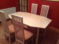 Folding dining table and 4 chairs (G Plan)