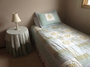 Single bed with bedding