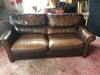 3 Seater Sofa Bed (brown leather)