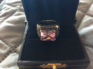 Beautiful Sterling Silver Pink  Ring Stamped 925