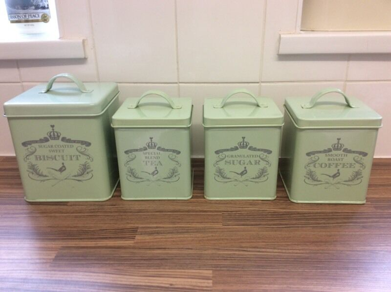 sage green vintage tea  coffee  sugar and biscuit caddies