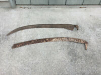 2 Antique wall hanging scythe blades !
