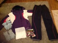 Ladies Ski Coat, Salopettes, Goggles, Neck Chuff & 2 Pairs of gloves
