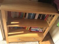 Oak effect bookcase with drawer