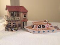 Sylvanian Families Beechwood Manor, Marita May boat and brown rabbit dolls