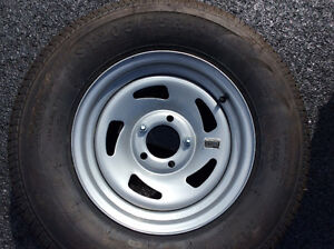 Boat trailer tire with mount