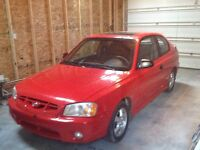 2000 Hyundai Accent Red Coupe (2 door)