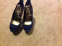 Brand new blue and gold heels