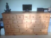 """MULTI DRAWED """"ANTIQUE"""" PINE CHEST OF DRAWERS"""