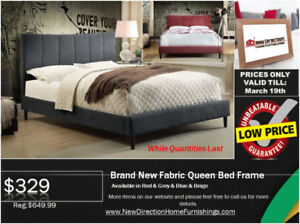 ◆Super Winter Clearance! Brand New QN/DB Fabric Bed Rd/Gy/Bg◆