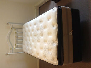 Twin box spring and cushion top mattress  bedframe and headboard