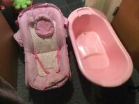 Baby rocker and baby bath still in ok condition