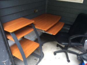 Office desk and swivel chair.