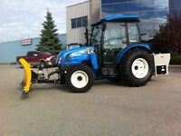 65 HP Utility Tractor Self Leveling Loader and 8'  Snow V Blade