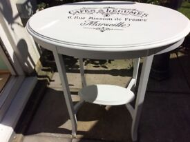 White Fusion occasional table with hand painted transfers