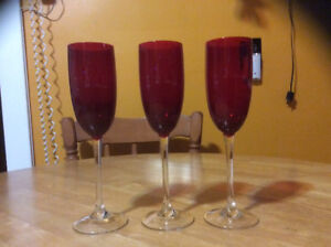 "Crystal ruby red 9 3/4"" champagne flutes with clear stems"