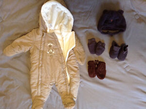 Baby snowsuit, hats, mitts, booties