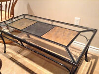 Metal Framed Coffee Table & End Table