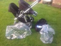 Icandy pear double pram /buggy with in black