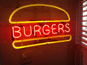 "Large Mid Century Modern MCM Neon Sign ""Burgers"""