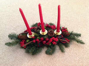Christmas Table centrepiece with candles