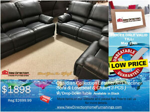 ◆Brand New 3PCS Leather Air Fabric Recliner Set on Sale@NEWD