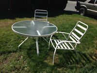 Glass table w/ 2 chairs