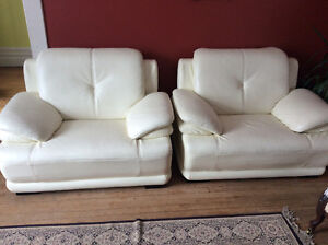 Two Leather Sofa Chairs