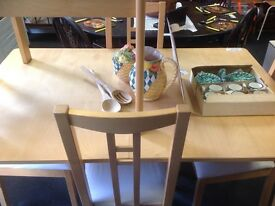 Dining table four chairs double extending