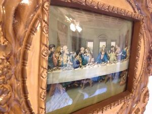 Rare old Jesus Last Supper Plaster Framed, Lamp Windsor Region Ontario image 3