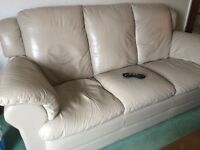 Leather 3 piece suite with reclining chair
