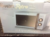 SWAN Retro Blue Manual Microwave 25 Litre 900W New