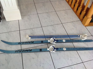 $20 Karhu 150 cm kids X Country skis and poles