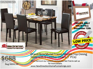◆Brand New 7PCS Metal/Marble Top Dining Set@New Direction