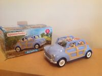 SYLVANIAN FAMILIES BLUE FAMILY CAR & MOUSE FAMILY