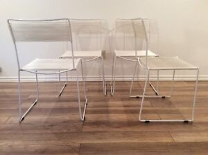 Vintage White Chairs by Belotti-Chaises Retro Italiennes 1980s