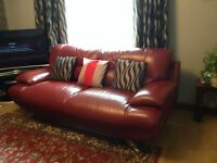 Red Leather 3 seater sofa with 2 chairs