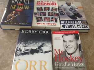 5 Hockey Books - Orr, Howe, Clark, T.Horton, Behind the Bench