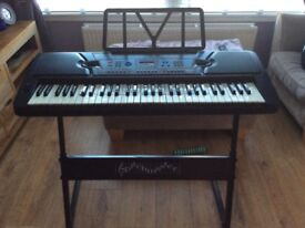 Pitchmaster 61 Key Black Electronic Music Piano Keyboard & Stand, Electric Piano Package