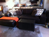 leather sectional and storage ottoman