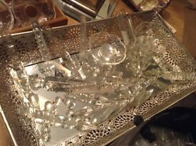 Loads of glass sparkling vintage chandelier drops ideal for xmas trees