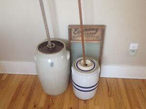 Antique Butterchurns and Victorian Rug Beaters