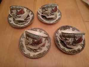 Friendly Village by Johnson Bros. Tea cups and Saucers
