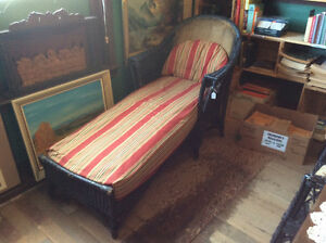 Antique Vintage Wicker Rattan Chaise Lounge