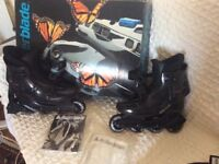 Size 3 Roller Skates In-line style + helmet and guards