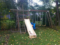 LOOK!! Wood  Playground Swing Set!!!