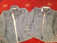 TWO IDENTICAL Ted Baker denim shirts ideal for twins EXCELLENT CONDITION age 3-4